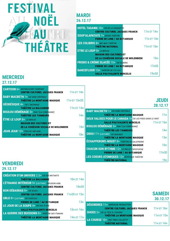 programme Noël au Théâtre 2017